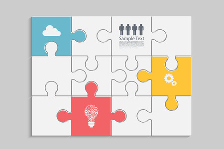 problem solved: Abstract Puzzle infographic design. Eps10 vector for your design