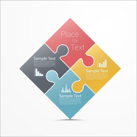 piezas de rompecabezas: Resumen Puzzle diseño infográfico. Eps10 vector para su diseño