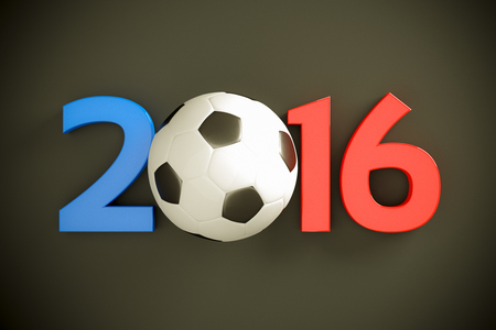 sport balls: New Year 2016 and soccer ball Stock Photo