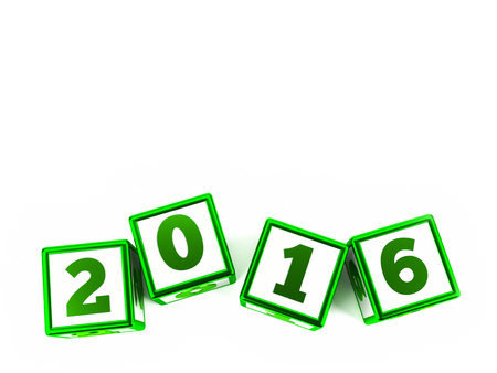 turns of the year: Green cubes with year change on a white table represents the new 2016, three-dimensional rendering