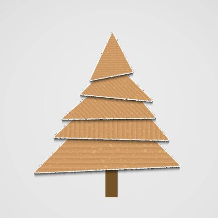 recycle tree: modern cardboard christmas tree background for your design