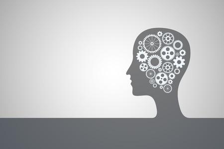 Tête humaine avec jeu d'engrenages comme un symbole travail du cerveau Banque d'images - 49562310