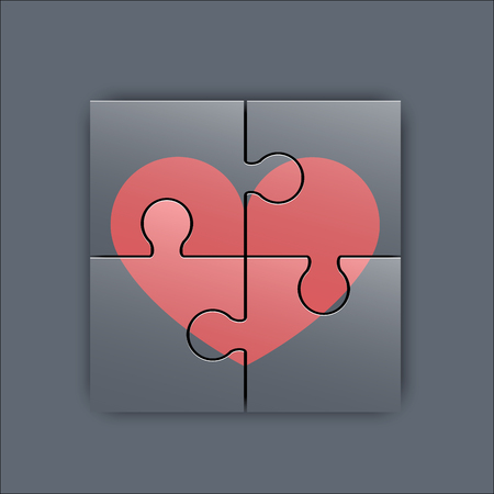 colorful heart: Colorful heart shaped puzzle graphic template illustration Illustration