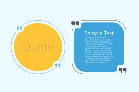 Cytat bańki tekstu. Przecinki, notatki, wiadomości i komentować. Kreacja cytat. Cytat szablon do projektowania Ilustracje wektorowe