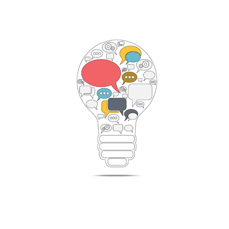 bulb with bubble speech, an idea concept, illustration