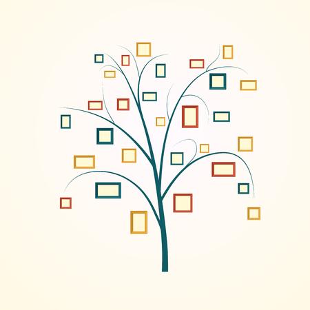 arbol genealógico: Diseño del árbol de familia, inserta sus fotos en marcos Vectores