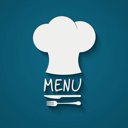 Chef-Symbol. Chef Hut Silhouette mit Besteck innen auf schwarzem Hintergrund. Vektor-Illustration für Ihr Design Standard-Bild - 52313565