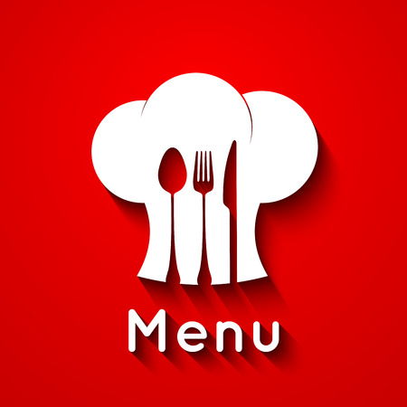 gastronomic: Chef icon. Chef hat silhouette with cutlery inside on black background. Vector illustration for your design