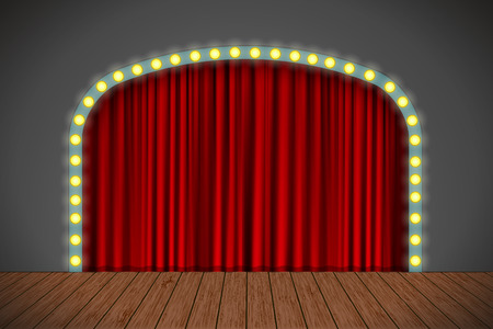 red sign: Stage with red curtain, lights and wooden floor. Vector for your design