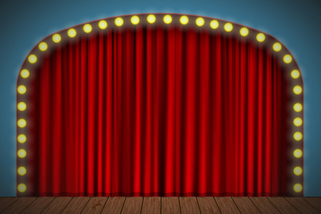 Stage with red curtain, lights and wooden floor. Vector for your design