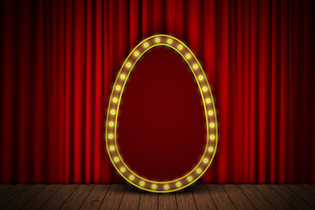 intermission: Golden egg with light bulbs on red velvet curtain on stage. vector easter background for your design Illustration