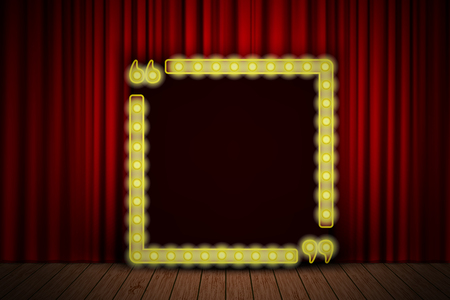 circus stage: Shining quote banner on stage curtain. Vector illustration. Gold quotation concept