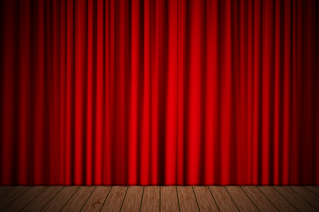 stage: Creative stage with red curtain. Vector illustration for your design