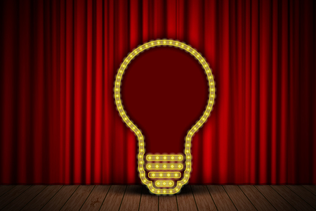 red sign: Creative idea bulb on stage curtain. Vector illustration for your design