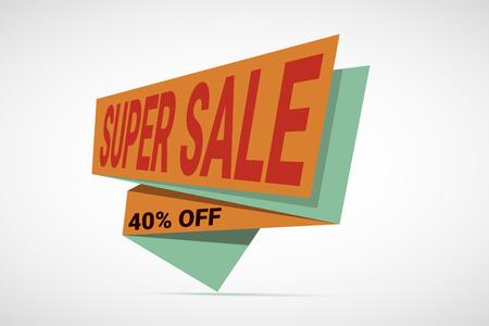 paper tag: Super Sale paper banner. Sale background.  Big sale.  Sale tag.  Sale poster. Sale vector. Super Sale and special offer. 40 off. Vector illustration for your design Illustration