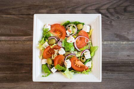 greek: Healthy greek salad with vegetables