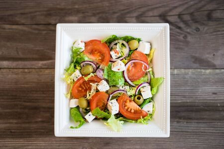 Healthy greek salad with vegetables