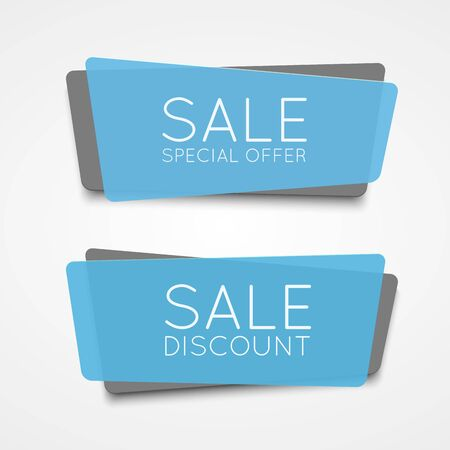 inexpensive: Special offer blue banner icon isolated on white background illustration for your design Stock Photo
