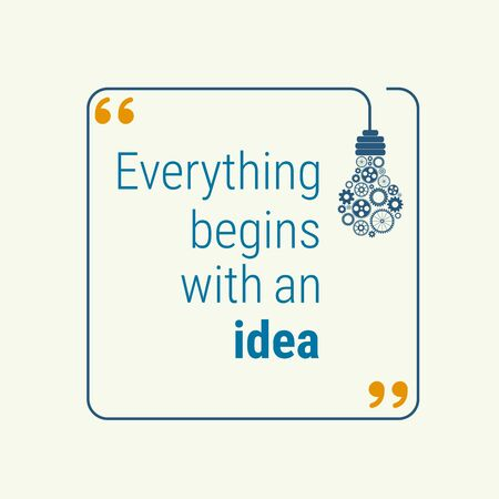 idea quote with light bulb with gears. concept of big ideas inspiration innovation, invention, effective thinking. text. outline. for your design