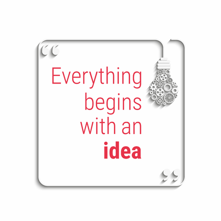 big idea: idea quote with light bulb with gears. concept of big ideas inspiration innovation, invention, effective thinking. text. outline. Vector for your design Illustration