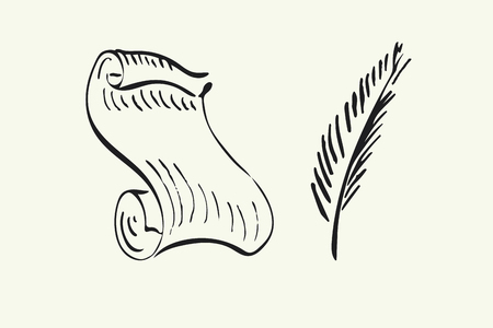inkwell: Hand drawn paper scroll, feather and inkwell. Vector illustration for your design