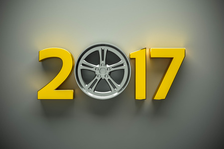 winter car: 2017 concept with car wheel for your design Stock Photo