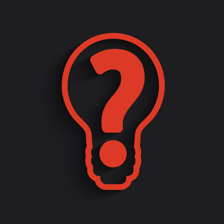 questioner: question mark in bulb stock vector