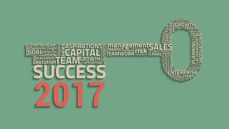 creative idea: key success with business words, creative vector idea, 2017 concept Illustration