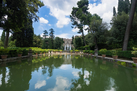The Fountain of Neptune, iconic landmark in Villa dEste, Tivoli, Italy