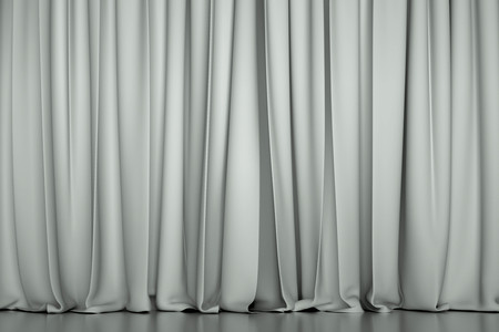 sipario chiuso: white closed curtain in a theater. Creative illustration for your design