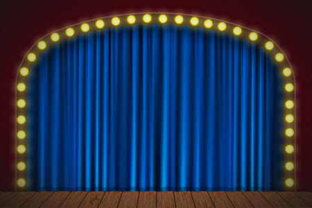 Podium met blauw gordijn, verlichting en houten vloer. Vector voor uw ontwerp Stockfoto - 68890239