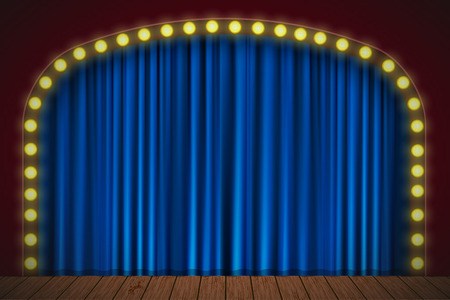 Stage with blue curtain, lights and wooden floor. Vector for your design