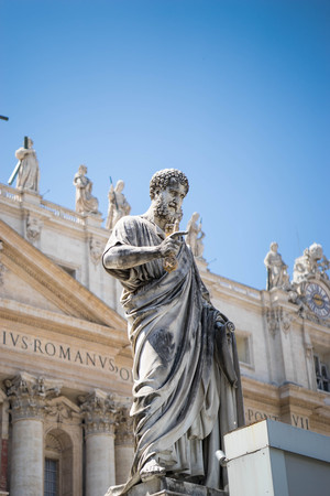 st  peter's square: Statue of St. Peter in St. Peters Square (Rome, Italy) for your design