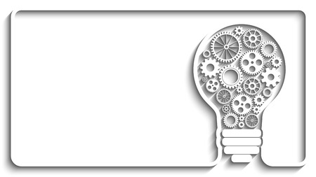 bulb light: light bulb with gears and cogs working together. Creative frame. Eps10 vector background for your design