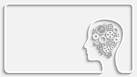 Human head creative frame with set of gears as a symbol work of brain, Eps10 vector background for your design Vettoriali
