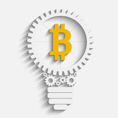 ides: Bitcoin in cogwheels icon design. Illustration