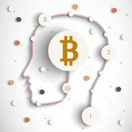 Illustration of a male head icon with a bitcoin sign