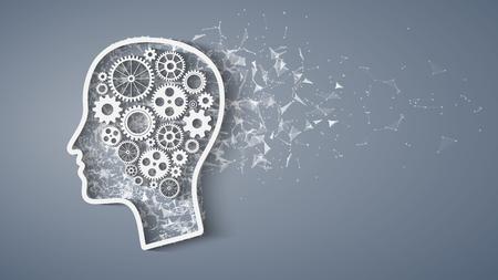 歯車は頭の形で脳の形状を形成します。人間の知性の概念。頭と進行中の脳歯車