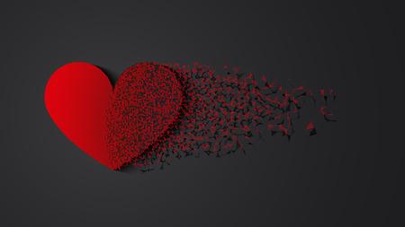 heartbreak: Broken heart with shadow