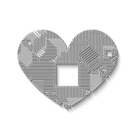 Circuit board heart with long shadow