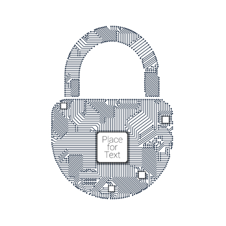 padlock circuit style with crypto processor inside for your design