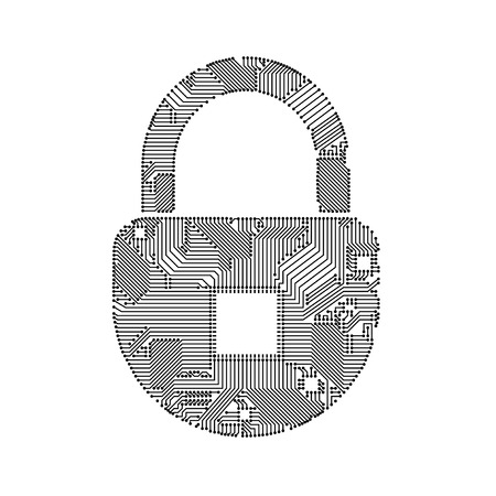 padlock circuit style for your design Illustration
