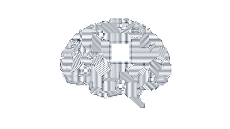 Circuit board vector brain background for your design