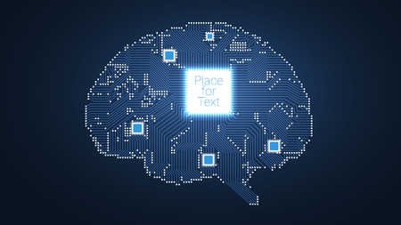 Circuit board vector brain background with processor inside for your design