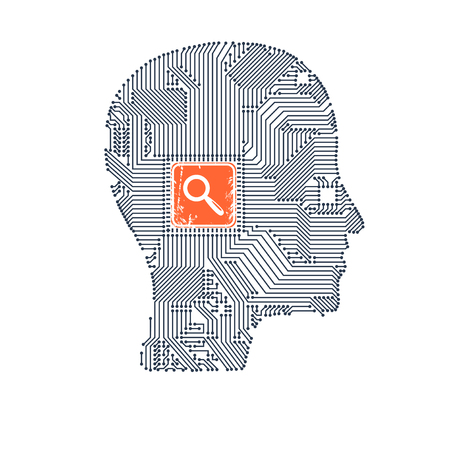 Circuit board head with magnifier inside as a symbol of searching for your design vector illustration