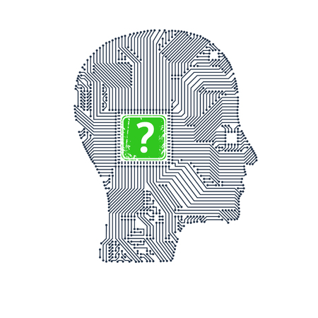 Circuit board head with question inside for your design. Illustration