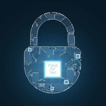 Padlock circuit style vector illustration Illustration