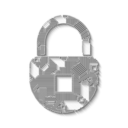 Padlock circuit style with long shadow vector illustration Illustration
