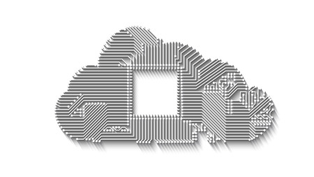 Circuit cloud computing concept with long shadow vector illustration