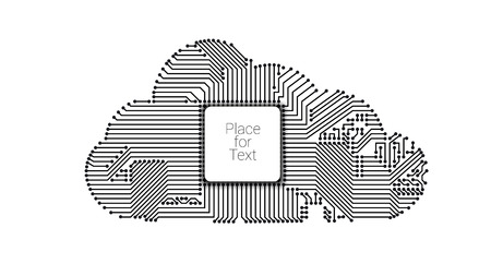 Circuit cloud computing concept with processor vector illustration